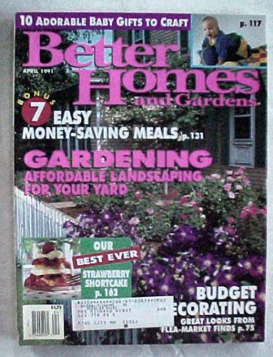 Primary image for BETTER HOMES AND GARDENS 1991-APRIL-GARDENING-AFFORDABLE LANDSCAPING FOR YOUR YA