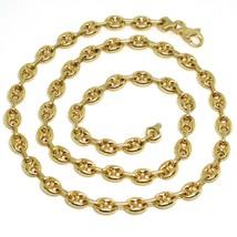 Kette Halsnah Gelbgold 750 18K, Solida 50 cm, Marinara 6 mm Oval Bombenf... - $2,539.60