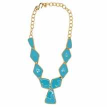 Kenneth jay Lane KJL Turquoise Blue Diamond And Triangle Drop Enamel Nec... - $123.75