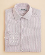 Dkny Boys' Thin Stripe Button Down Shirt, Multi Color, Size 14R , MSRP $57 - $19.79