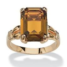 Emerald-Cut Birthstone 14k Gold-Plated Ring-November-Simulated Citrine - $27.82