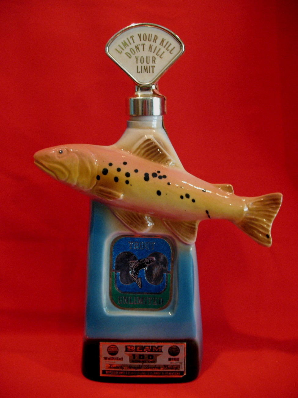 Primary image for Vintage Jim Beam Bourbon Whiskey Decanter Trout Fish Fisherman Fishing Souvenir