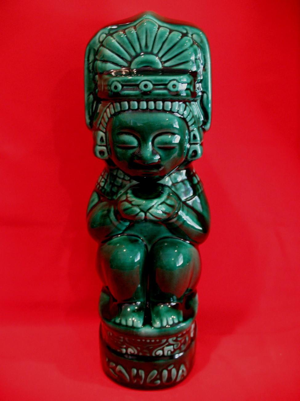 Vintage Dark Green Tiki Kahlua Decanter Bottle Collector Collectible Tiki Bar Other