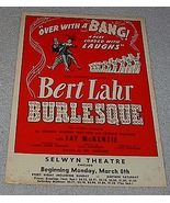 Selwyn Theater Chicago Handbill Flier Bert Lahr in Burlesque - $75.00