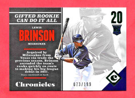 2017 Lewis Brinson Panini Chronicles Rookie Green 073/199 - Milwaukee Br... - $1.19