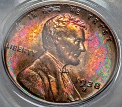 1938-S MS66 RB Lincoln Wheat Cent beautiful Luster with amazing colors. 613 - $161.70