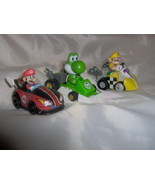 Three Mario Kart Cars Mario Wario Yoshi MarioKa... - $9.99
