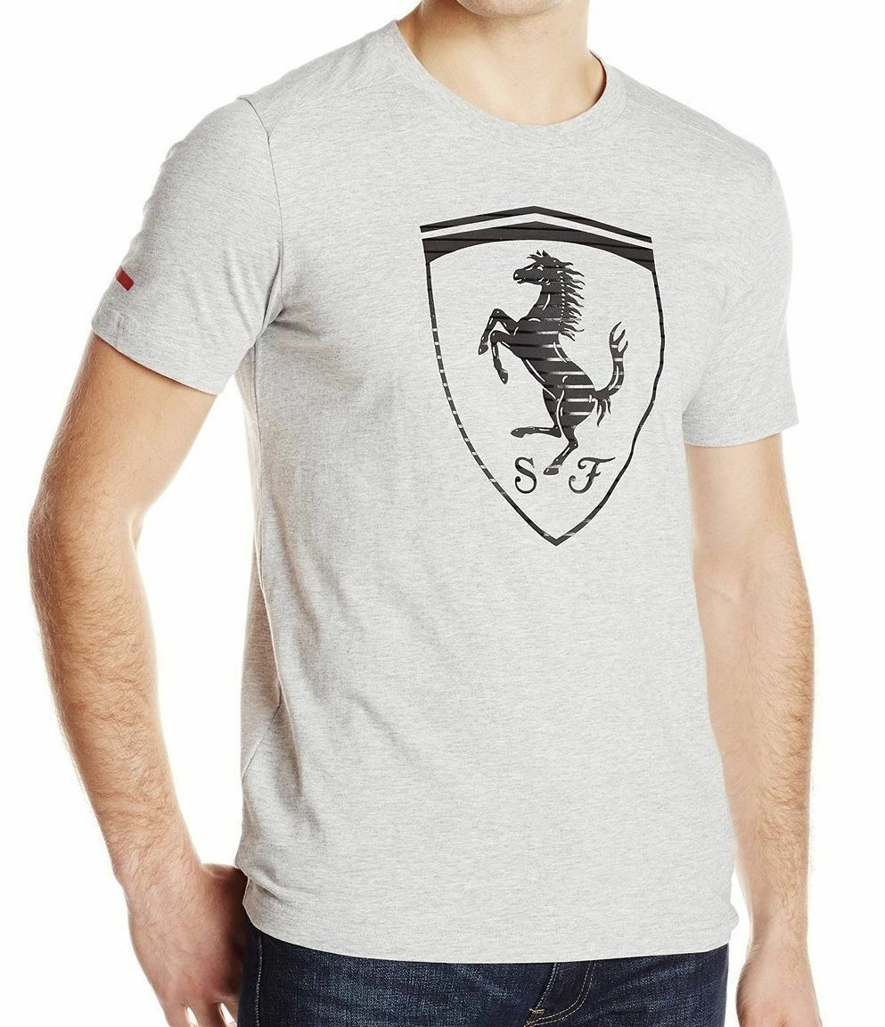 PUMA MEN'S PREMIUM SPORT FERRARI BIG LOGO F1 TEAM TEE T-SHIRT GRAY 570681 size M