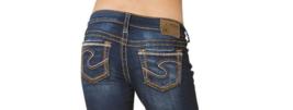 WOMENS SILVER JEANS SHORTS Mid Rise Aiko Denim Jean Stretch Shorts PLUS 14 - $34.97