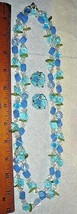 VTG 1950s LUCITE FLORAL GARDEN BLUES NECKLACE FLOWER RHINESTONE CLIP EAR... - $237.99