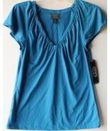 Chaps by Ralph Lauren Womens Blue Lace Trim V Neck Knit Top Petite PM PXL - $29.99