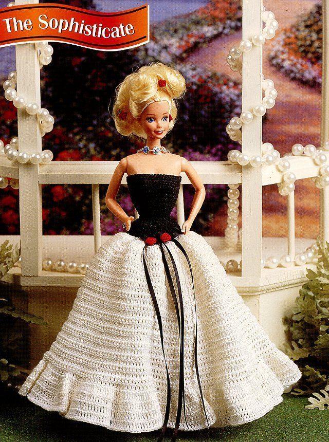 The Sophisticate Evening Dress fits Barbie Doll Annie's Crochet PATTERN Leaflet