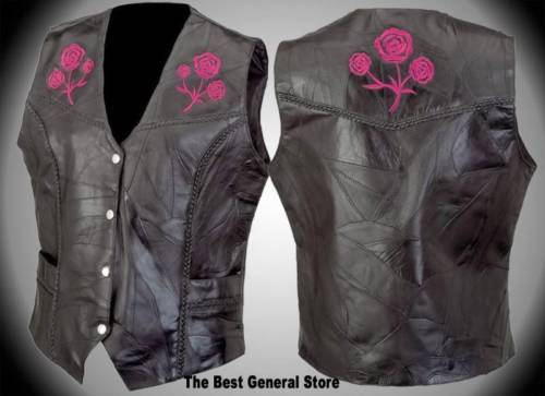 Womens Ladies Black Leather Vest with Rose Biker Motorcycle Fashion SMALL Diamond Plate
