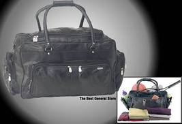 """23"""" Black Leather Tote Travel Bag Duffle Carry-On NEW - $22.95"""