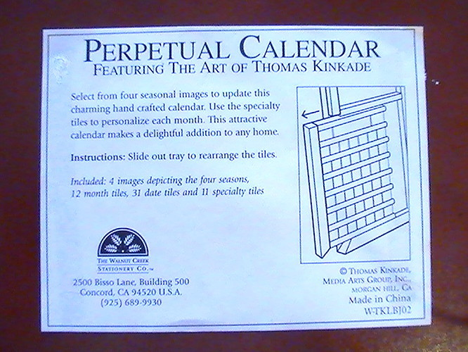 Thomas Kinkade Perpetual Calendar Cherry Frame