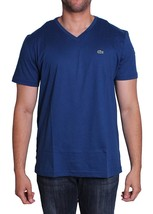 Lacoste Men's Premium Pima Cotton V-Neck Shirt T-Shirt Blue Inkwell