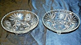Heavy Etched Cut Glass Serving Bowls (Pair) AA20-CD0060 Vintage image 3