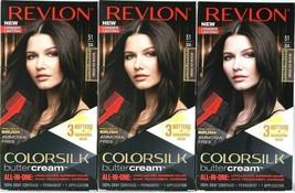 (3) Revlon Luxurious Colorsilk Buttercream 51 / 50A Medium Ash Brown Hair Dye - $27.73