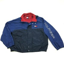 VINTAGE Tommy Hilfiger Jacket Arm Spell Out Windbreaker Size M Hoodie Co... - $84.33