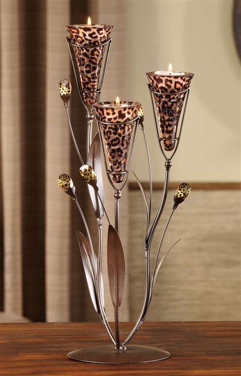 Leopard Design Metal & Glass Candle Tealight Holder with 3 Glass Cup Holders New