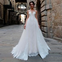 Stunning Tulle Bateau Neckline 2 in 1 Wedding Dress With Lace Appliques Detachab