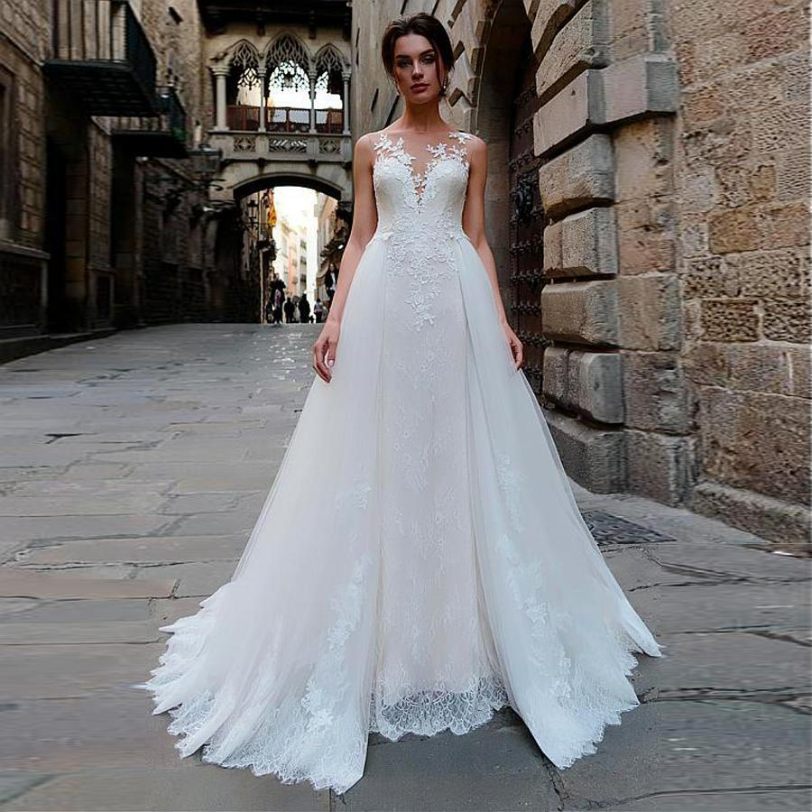 Stunning tulle bateau neckline 2 in 1 wedding dress with lace appliques bridal dress two pieces