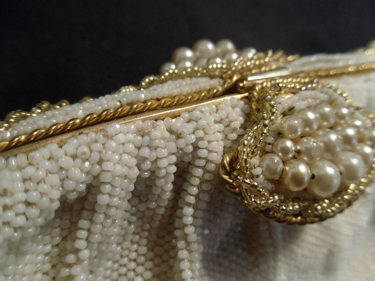 Primary image for Beaded Vintage Purse Off-White Faux Pearls with Gold-Tone Accents