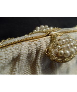 Beaded Vintage Purse Off-White Faux Pearls with Gold-Tone Accents - $55.00