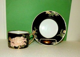 ONE Fitz & Floyd CLOISONNÉ PEONY Cup and Saucer BLACK on WHITE w/Gold Tr... - $17.77
