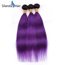 Silanda Hair 3 Bundles #1B/Purple Straight Remy Human Hair Extensions Hair Weft - $132.90+