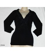 DAYTRIP Sz L Black Knit 3/4 Sleeve Beaded Empire Waist Blouse  - $12.99