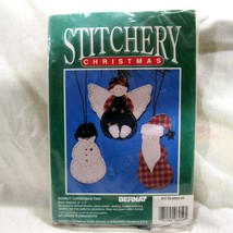 Stitchery Christmas Starlit Christmas Trio Ornament Kit Bernat Makes 3 O... - $17.59