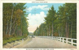 Greetings from Maine 1938 used Postcard - $3.99