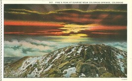 Pike's Peak at Sunrise near Colorado Springs, Colorado early 1900s Postcard - $4.50