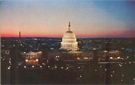 Washington DC, Capitol at night old unused chrome Postcard  - $3.99