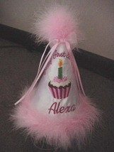 Happy First Birthday Party Hat Keepsake Personalized Pink Girls Toddler ... - $25.99