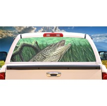 Northern Pike Fishing Rear Window Mural, Decal, or Tint for rear window in Truck - $77.99