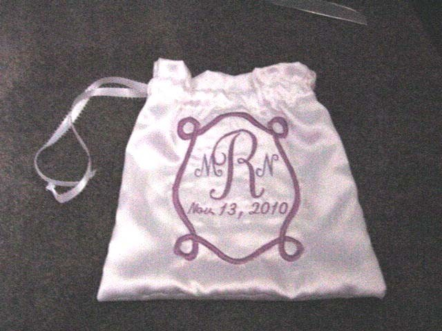 Primary image for Personalized 11inch White Ivory Satin Wedding Brida lMoney Card Drawstring Bag