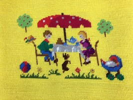 Needlepoint Completed Pillow Chair Top Kids Dog Toy Umbrella Tea Party 1... - $19.79