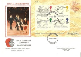 GB 1988 Edward Lear FDC set London SW on Remembrance Festival cover see ... - $0.59
