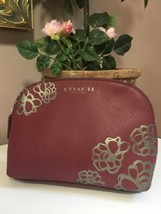Coach Cosmetic Bag Silver Floral Etched Pouch Burgundy Leather  Zip M8 - $57.82