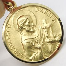 18K YELLOW GOLD ST SAINT FRANCIS FRANCESCO ASSISI MEDAL, MADE IN ITALY, 19 MM image 4