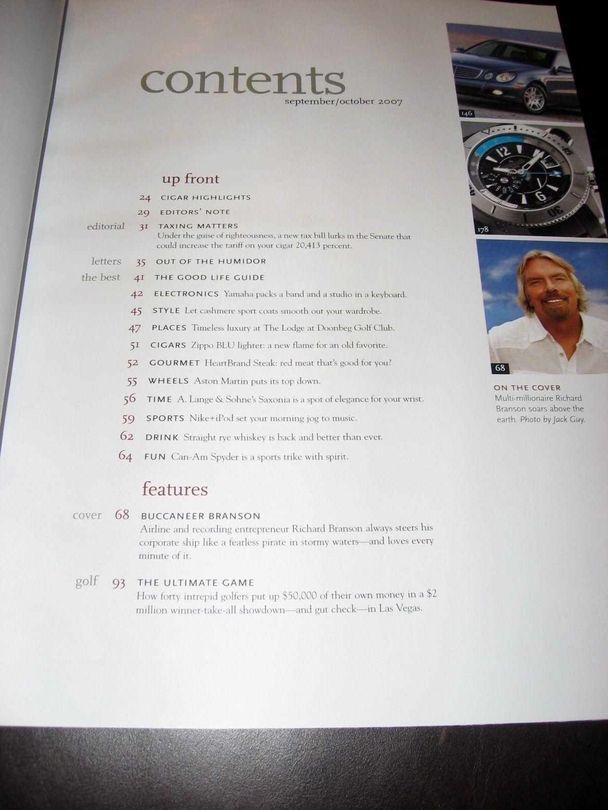CIGAR AFICIONADO MAGAZINE * OCTOBER 2007 15th ANNIVERSARY ISSUE * NEW & CLEAN * image 3
