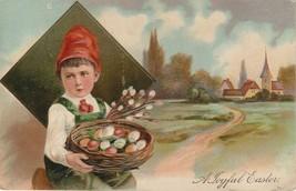 Easter Postcard 1909 Little Boy With Basket of Egg Embossed Gilt Paul Finkenrath - $7.50