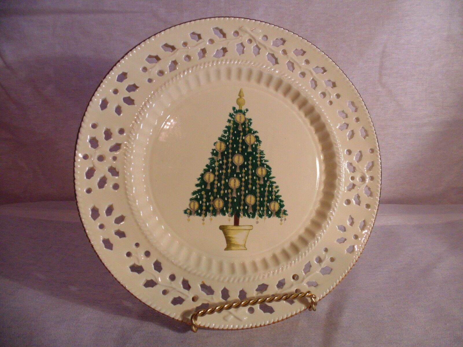 Primary image for Formalities by Baum Bros Holly Creamware Collection China Plate Christmas Tree
