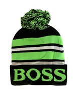 Boss Adult Size Tri-Color Striped Winter Knit Pom Beanie Hats (Black/Green) - $12.95