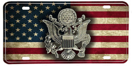 Distressed American Flag US Army Hat Emblem License plate - $13.81