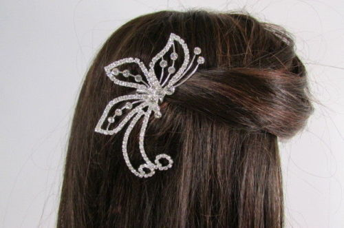 Women Silver Metal Head Fashion Jewelry Butterfly Hair Pin Bridal Wedding Party image 4