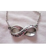 """GN2 INFINITE HOPE black-print & red stones infinity charm on 18"""" fine chain - $3.95"""