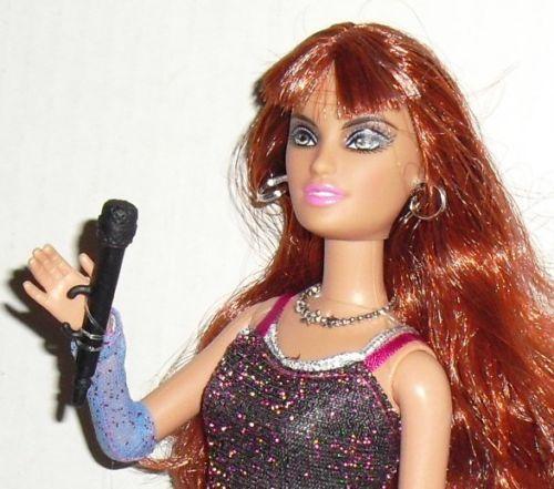 Exotic BARBIE Doll Red hair dressed SINGER w/microphone Mattel